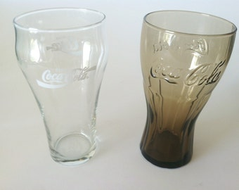 Coke, Coca Cola, Amber Coke Glass, Clear Coca Cola Glass, Coke Glasses, 16 oz. Coke Glasses, Advertising Collectable, Vintage Coca Cola