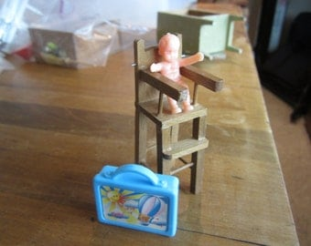 Dollhouse Decor. Highchair, Baby, Suitcase #168