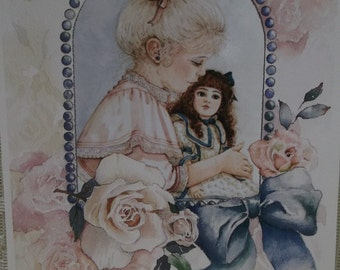 Pretty Victorian Girl Holding Doll-Pink Dress-Roses-Watercolor Print-Jan Hagara-Vintage Greeting Card