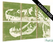 EXTRA Large T Rex Dinosaur Print - Large Rustic Kids Room Art - Custom Made Gift - 32x48