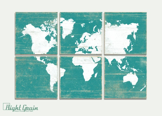 Rustic World Map Wall Art World Map Decor On Wood By