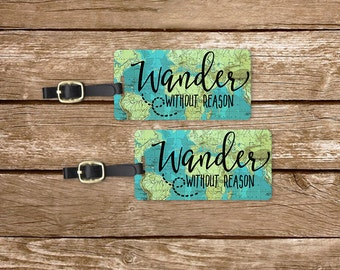 Luggage Tag Set Wander without reason Vintage Map Metal Luggage Tag Set With Printed Info On Back,Single Tag or Set Available Version 1