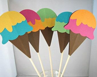 Ice Cream Cone Centerpiece Sticks, Ice Cream Party Centerpiece, Ice Cream Birthday Party, Ice Cream Shower, Ice Cream Table Decor, Set of 5