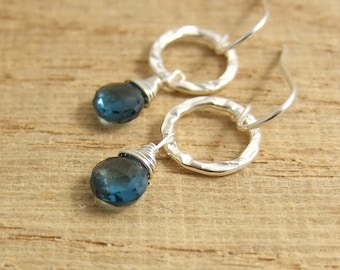 Earrings with London Blue Topaz Teardrop Beads and Textured Loops CHE-291