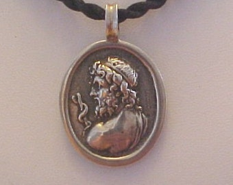 Sterling Silver Asklepios, God of Medicine and Healing Pendant
