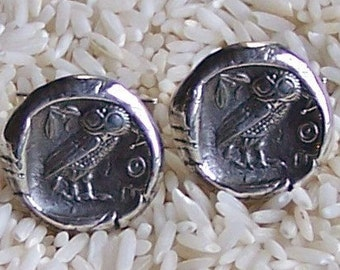 Ancient Coin Athenian Owl Replica Solid Sterling Silver Cufflinks