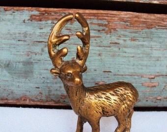 Vintage Solid Brass Deer Buck Figurine Statue Large Antlers Horns Mod 1960s 1970s knicknacks Woodland Decor
