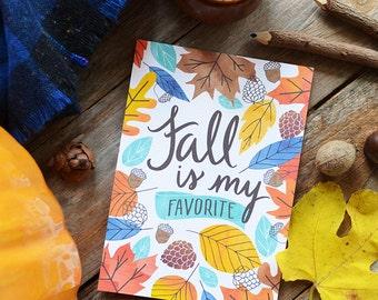 Fall is my favorite, Happy Fall, Hello Autumn, seasonal Decor, Welcome Fall, Illustration, Autumn Leaves, Watercolor, season print