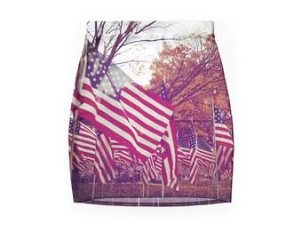 American Flag Skirt ~ Bodycon ~ USA ~ Autumn ~ Holga ~ Fall ~ Field of Flags ~ Veterans Day ~ Small Town ~
