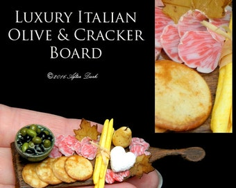 Luxury Italian Olives & Cracker Board, with Elisabeth Causeret bowl - Artisan Handmade Miniature in 12th scale After Dark miniatures.