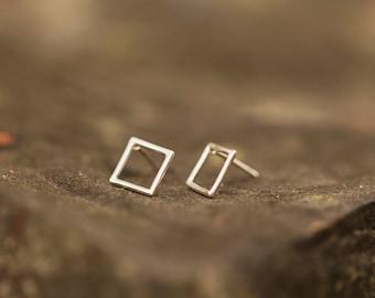 Geometric Earrings. Sterling Silver Stud Earrings. Minimalist Jewelry. Geometric Jewelry. Everyday Earrings. Gift for Her. Made in America