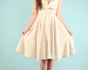 Vintage 1980s Strapless Midi Dress XS Small Taupe Beige Sexy Circle Skirt