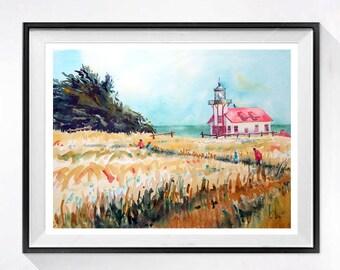 Lighthouse Landscape Art Print Watercolor Lighthouse Painting Pacific Coast Ocean Watercolor Painting Beach Art Prints Coastal Art A