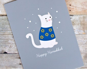 Happy Hanukkah Sweater Cat Holiday Greeting Card