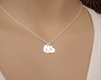 Dainty heart initial necklace - Mother's necklace - Kids initials - Couples initials - Personalized, Tiny, simple, minimal style jewelry