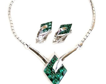 Trifari 1951 Emerald Green Pat Pend Necklace and Earrings Demi