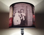 Asylum lamp shade - unique light, creepy Halloween decor, dark decor, drum lamp shade, dark art, spooky lampshade, victorian asylum