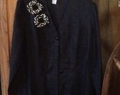Altered couture, Linen, Black blouse, animal print ruffle, Romantic