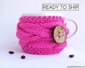 Coffee Mug Cozy, Coffee Cozy, Coffee Cup Cozy, Tea Cozy, Coffee Sleeve, Coffee Cup Sleeve, Neon Pink, Pink Gifts, Tea Gifts, Coffee Gifts