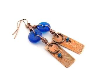 Copper Artisan Earrings - Industrial Style Earrings - Copper Swirl Earrings - Cobalt Blue Earrings - Boho Earrings - Aged Glass - AE026