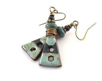 Rustic Blue Speckled Earrings - Ceramic Earrings - Artisan Earrings - Boho Earrings - Antique Brass Earrings - Turquoise Earrings - AE094