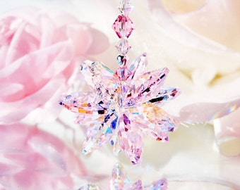 Pink Crystal Rear View Mirror Charm Swarovski Crystal Car Accessories