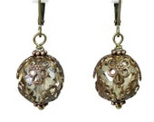 Filigree Vintaj Brass Earrings, Champagne Czech Glass Victorian Style Dangle Earrings, Vintage Style Neutral Affordable Jewelry Gift Ideas