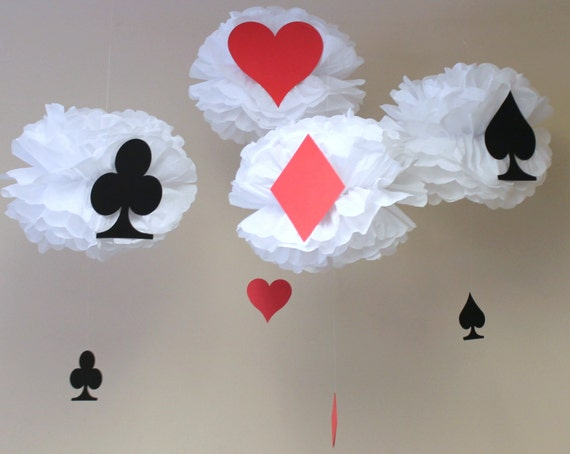 Deck Of Cards Tissue Paper Pom Kit Baby Shower First Birthday Party