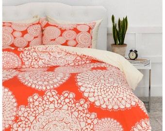 Boho  Duvet Cover // Bedding // Twin, Queen, King Sizes // Home Decor // Delightful Doilies Saffron Orange Design // Bold // Bedroom // Boho