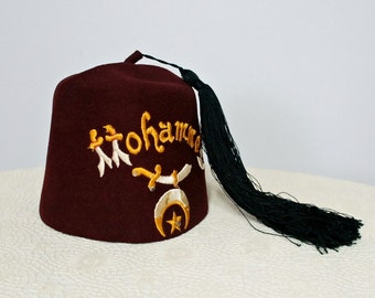 Vintage Fez Historical Shriner's Fez Hat Masonic Maroon Fez 1930's Fez Costume Hat Minonk, ILL Felt Hat