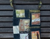"Mixed Denim Fabric Patchwork Bag ""Shine For Jesus"" ,Sling Bag, Handmade Tote, Eco-Friendly bag, Shoulder Bag, Denim and  Gold, Crossbody"