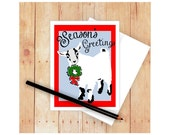 Goat Christmas Card, Season's Greetings, Goat Drawing, Goat Artwork, Goat Card, Goat Holiday Card, Cute Goat
