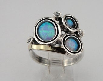 Blue Opal Ring, 925 sterling Silver and 9k yellow gold ring,Three Stone Ring, CZ Silver Ring