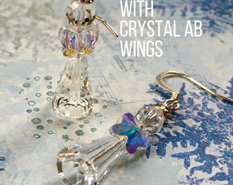 Sparkling Crystal Angel Earrings. Choose Your Ear Wire