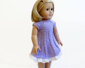 Doll Dress, Knit Doll Clothes, AG Doll Dress, Purple Knit Doll Outfit