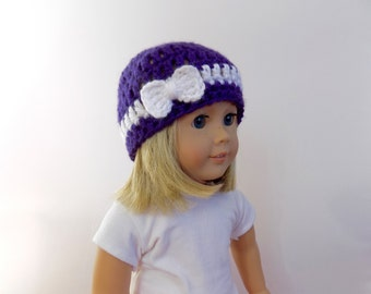 Doll Hat, 18 Inch Doll Clothes, Purple Doll Hat, Hat with Bow