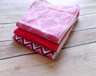 Pink Burp Cloth Set of 3 Chevron Paisley Hot Pink Burp Rags Terry Cloth