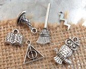 6 HARRY POTTER Theme Assorted Charms -Each One Different in Antique Silver - Deathly Hallows, Witch Hat, Broom, Lightning Bolt, Owl, Book