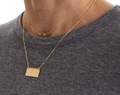 Large Gold Bar necklace - delicate gold layering jewellery - minimal gold fill bar pendant