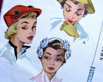 UNCUT * 1950's  McCall's Pattern 1664 - -  Women's and Misses' High Fashion Hats in 3 Styles  -- Head Size 22