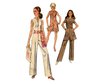 1970s Easy Jumpsuit Pattern Mini Skirt STraight Leg Short or Long Jumpsuit Front Zipper Jiffy Simplicity 8745 Bust 34 Vintage Sewing Pattern
