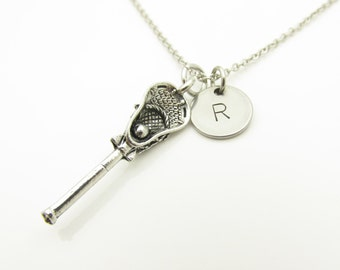 Lacrosse Necklace, Lacrosse Stick Necklace, Personalized Initial Necklace, Antique Silver Lacrosse Charm, Sports Necklace, Monogram Y277