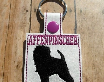 Affenpinscher Key Fob, Dog Key Chain, Terrier, Fuschia