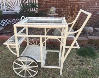 Antique Wicker Tea Cart