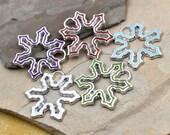 Snowflake Pendant, 10pcs, 24mm, Silver Enamel Snowflakes, Holiday Charms -C47