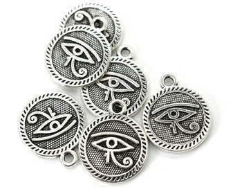 Eye of Horus Charms, 15 pcs, 15mm, Bracelet Charms,  Silver Charms, Egyptian Charms -C763