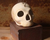 White Crackle Mohawk Skull With Stoneware Stand