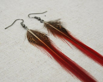 Golden Pheasant feather earrings- brown and black feather with a pointy fiery red flame feather earrings