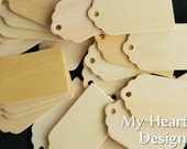 SCALLOPED Wooden Gift Tags (Lot of 25) Name Tags, DIY Unfinished Wood [Blank labels / ornaments] Valentine's Day & Wedding Tags