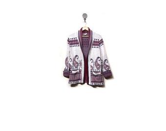 BTS SALE Vintage 70s Knit Folk Art Rustic Wrap Waist Cardigan Sweater women s m rustic indie hippie hipster preppy bohemian ethnic red blue